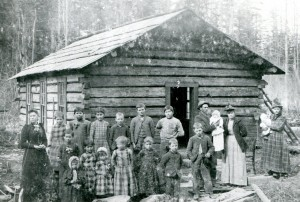 Swan Lake School in 1893. The Fiander girls and mom, Catherine, are all dressed in plaid.