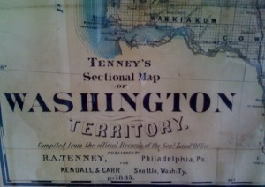 1885 map of the Washington Territory — Washington wouldn't become a state until 1889