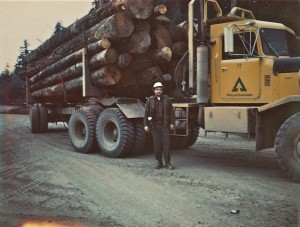 Dick Taylor with load of Weyerhaeuser wood, 1970