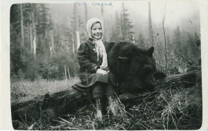 Alfred's daughter, Nettie Conrad with bear