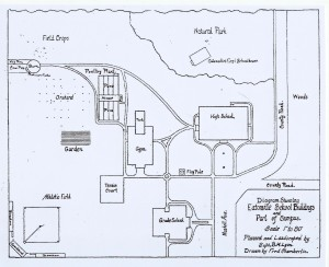 Eatonville School plan (ca. 1916)  by Supt. B.W. Lyon and drawn by Fred Chamberlin