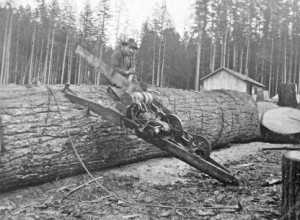 Eatonville Logger sitting beside his drag saw