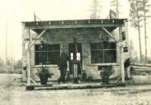 Roscoe King in front of the original garage
