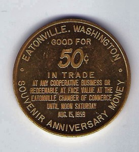 1959 Eatonville 50th Anniversary Coin - Back
