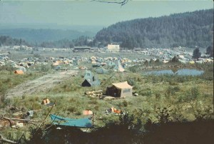 Folks in tents at the 1970 Buffalo Party Rock festval