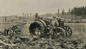 Pete and Ted Peterson with their Case tractor (ca. 1925)