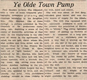 Town Pump article, 1936, Eatonville Dispatch