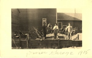 Ed and Nate Williams building the William's garage, known today as Tall Timbers