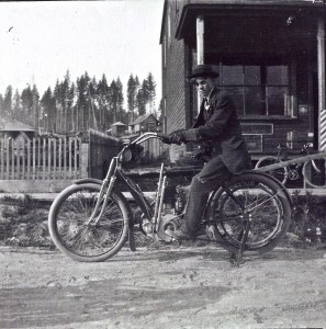 George Boettcher on early motorcycle
