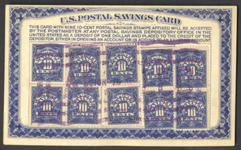 Postal savings card