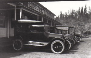 Vehicles outside Eatonville Lumber co. (ca. 1925)
