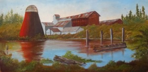 Painting of Eatonville Lumber Mill by Martha Parrish