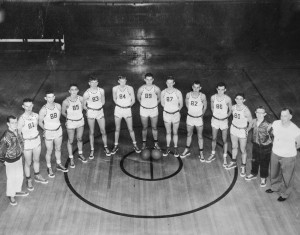 1952 BB Team: J. B. Logston (manager), Eddie Kroft, Mickey Morrow, Jim Delgianni, Bob Olson, Albert Wehmhoefer, Ernie Jones, Phillip Balmer, Dick Logston, Charles Hale, Lamar Toulouse, Billy Budke (equipment mgr,) and the old master, coach Ernie Cope
