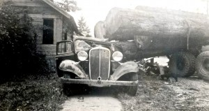 Logging truck accident, Center St. & Washington (ca. 1940s)