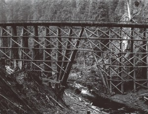 Kinsey photo of logging bridge