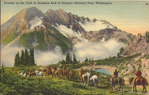 Tourists on the trail in southern end of Olympic National Park