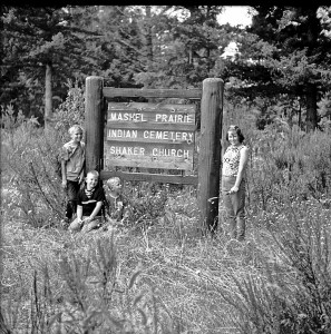 Clean up at the Mashel Prairie Indian Cemetery Shaker Church 1966