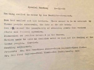 Historical Society Minutes -  June 16, 1975