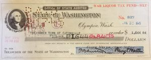 State check to Eatonville, 1945, WLT