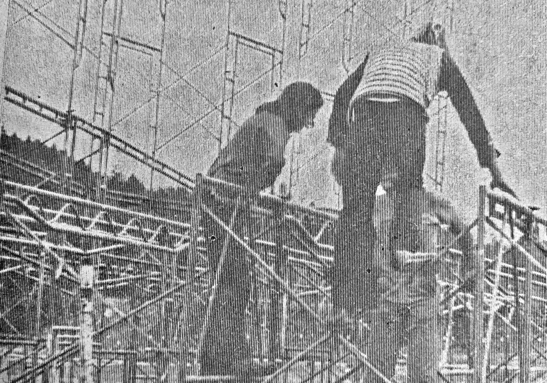 Young people setting up the stage for the 1970 Buffalo Convention and Pig Roast (or rock festival)